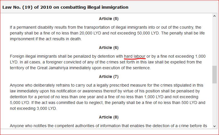 legge libica lavori forzati